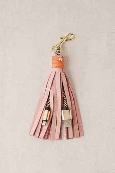 Pink USB Leather Tassel Keychain + Charging Cord