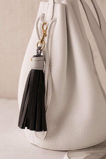 Black USB Leather Tassel Keychain + Charging Cord